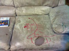 Removing marker off a microfiber couch with rubbing alcohol.