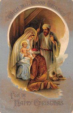 Happy Christmas Religious Baby Jesus Mary Joseph Antique Postcard K40374