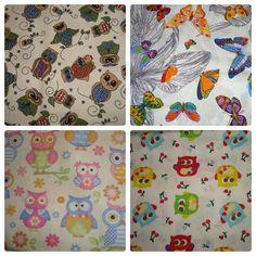 Corujas e borboletas. 100% algodão.