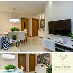 Nesse projeto residencial, o conceito foi um espaço clean, no qual utilizamos cores pontuais nos adornos, como nas almofadas e nos murados. Projeto: Mara Reis arquitetura e interiores