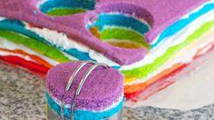 Rainbow cake joy, in a teeny tiny individual portion!