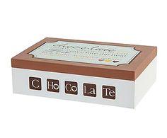 Caja para bombones en madera DM - blanco y marrón