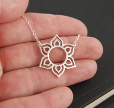 Lotus flower pendant necklace in sterling silver, charm holder, flower necklace, sterling silver lotus A sterling silver round lotus pendant Silver Locket Necklace, Gold Necklace Simple, Silver Lockets, Metal Jewelry, Pendant Jewelry, Fine Jewelry, Pendant Necklace, Jewellery, Flower Necklace