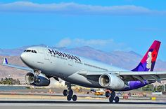 "Hawaiian Airlines Airbus A330-243 N385HA ""Manaiakalani"" touching down at Las Vegas-McCarran, February 2015. (Photo: Tomás Del Coro)"