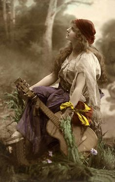 Gypsy girl with guitar...old photo