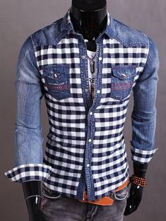 Plaid Insert Snap Button Up Denim Shirt Plaid Insert Snap Button Up Denim Shirt Casual Wear For Men, Casual Shirts For Men, Plaid Patchwork, Denim Shirt Men, Tartan Shirt, Plaid Shirts, Mens Shirts Online, African Clothing For Men, Jean Shirts