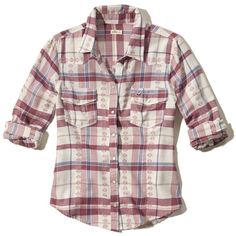 Hollister Western Plaid Shirt ($20) ❤ liked on Polyvore featuring tops, burgundy plaid, cowgirl shirts, plaid shirts, western shirts, burgundy shirt and cowboy shirts