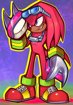 Knock knock, it's the new porcupine on the block (with the buff chest) wanted to draw Knux in his gear Hedgehog Art, Sonic The Hedgehog, Sonic & Knuckles, Sonic Funny, Sonic Heroes, Sonic Franchise, Sonic And Shadow, Sonic Art, Monster Art