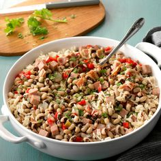 Black-Eyed Peas & Ham Recipe -Every New Year's Day we have these slow-cooked black-eyed peas to bring good luck for the coming year. —Dawn Frihauf, Fort Morgan, Colorado