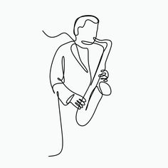 Single Line Art Drawing Of A Man Playing Music With Saxophone, Illustration, Drawing, Sketch PNG and Single Line Drawing, Continuous Line Drawing, Single Line Tattoo, Music Drawings, Music Artwork, Art Drawings, Arte Jazz, Jazz Art, Guy Drawing