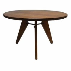 Jean Prouve Style Round Table | From a unique collection of antique and modern dining room tables at https://www.1stdibs.com/furniture/tables/dining-room-tables/