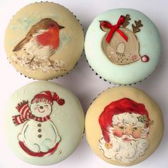 christmas design on cakes and cupcakes | heard that 80% of Christmas cakes end up in the bin, so these are ...