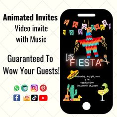 Cinco De Mayo Invitation, Fiesta Invitation, Cinco de mayo party, Taco Party, Digital Animated Invitation by Hostessy on Etsy