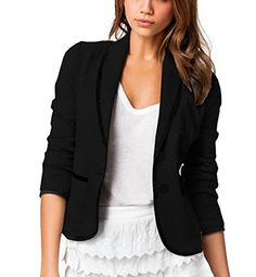 Womens Black Lapel Long Sleeve Slim Trench Jacket Office Casual Blazer Suit ** You can find more details by visiting the image link.