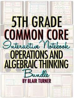 Interactive Notebook: Grade CCSS Operations and Algebr Fun Math, Math Activities, Math 5, Primary Teaching, Teaching Math, Math Notebooks, Interactive Notebooks, Numerical Expression, Math Classroom