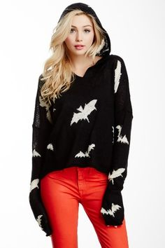 """Bats Hooded Billy Sweater by Wildfox Couture - Attached hood - Long sleeves with drop shoulder seams - Allover knit bat print - Approx. 21"""" length - Imported Additional Information Fit: this style fits true to size. Care Info Dry clean Fiber Content 56% acrylic, 34% nylon, 10% wool $268"""