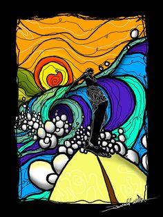 La gama cromática de esta imagen, las texturas en onda y círculos, al igual que la movilidad, hacen referencia al movimiento de las olas su espuma.