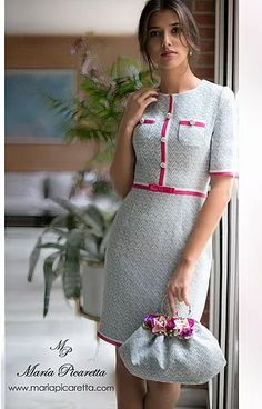 NUEVA YORK 390€ Day Dresses, Cute Dresses, Beautiful Dresses, Dresses For Work, Outfits Riverdale, Tweed Dress, Classic Outfits, Mode Outfits, Dress Patterns