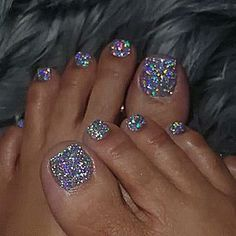 Nail Designs - Glitter Pedicure - - hair & make up.- Nail Designs – Glitter Pedicure – – hair & make up – Nail Designs – Glitter Pedicure – – hair & make up – - Simple Toe Nails, Pretty Toe Nails, Cute Toe Nails, Hot Nails, Summer Toe Nails, Toe Nail Color, Toe Nail Art, Fabulous Nails, Gorgeous Nails