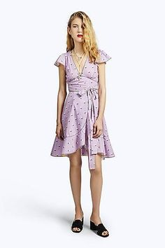 Rose Fil Coupe Flutter Sleeve Dress