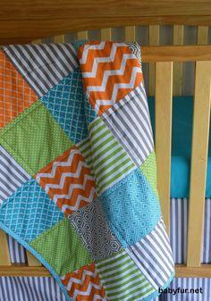 Orange Green Teal and Gray Baby boy bedding/ Boys Modern Crib Quilt babyfur. Orange Green Teal and G