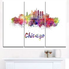 Shop for Colorful Chicago Skyline in Watercolor - Cityscape Canvas print. Get free delivery On EVERYTHING* Overstock - Your Online Art Gallery Store! Chicago Art, Chicago Skyline, Thing 1, Art Institute Of Chicago, Stained Glass Art, Online Art Gallery, Canvas Art Prints, Vintage Posters, Photo Art