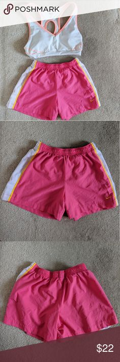 Nike hot pink workout gym shorts These shorts are lightweight and comfortable. The material helps your skin breathe while you sweat at the gym. They are cute to wear at the gym and will definitely make you stand out. Nike Shorts
