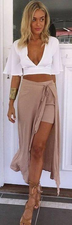 #summer #muraboutique #outfitideas   White Crop + Nude Maxi Skirt