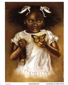 Transformation is an African-American work of art by Edwin Lester of a young girl dressed in white, clutching a bible in one arm, and gently holding a butterfly in the other. African American Art, African Art, American Children, African Beauty, African Fabric, American History, Caricatures, Natural Hair Art, Black Artwork