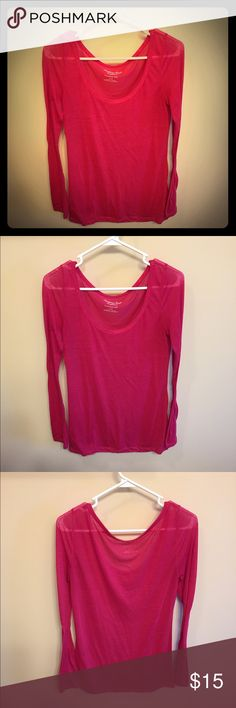 American Eagle long sleeve classic tee American Eagle Outfitters Sheer Pink Long Sleeve Favorite Tee American Eagle Outfitters Tops Tees - Long Sleeve