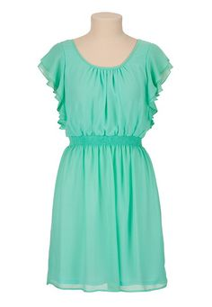 Chiffon Ruffle Sleeve Tie Back Dress available at #Maurices