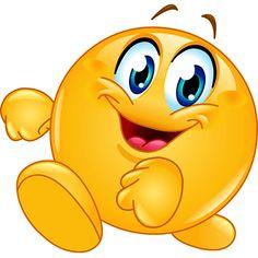 Illustration of Happy emoticon walking vector art, clipart and stock vectors. Emoticon Feliz, Happy Emoticon, Excited Emoticon, Funny Emoticons, Funny Emoji, Smiley Emoji, Emoji Images, Emoji Pictures, Naughty Emoji