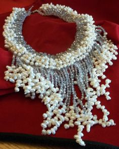 Vintage Real Pearl Glass Cascading Bib Necklace Runway Couture Coppola Toppo | eBay