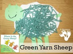 It is time for the Virtual Book Club again. This time we have a fun green yarn sheep craft to go with the book we picked for Mem Fox. This is a fun hands on craft that goes really well Language Activities, Toddler Activities, Preschool Activities, Sheep Crafts, Book Crafts, Toddler Crafts, Crafts For Kids, Classroom Art Projects, Preschool Books