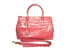 Prada Pink Crocodile Bergonia Galleria Bag