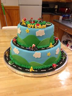 Mario kart cake! Made by me..Tina Couto. Email: t.couto@aol.com Union County, NJ area. Please get in contact with me if you need a cake for your special occasion :)