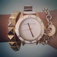 Marc Jacobs White + Gold watch