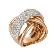 Amazing! 18K Rose Gold Crisscross Diamond Ring
