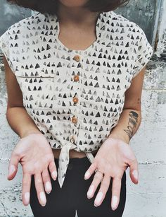 White Linen Basketcase Top in Catacomb Print by localparitygoods, $108.00