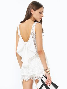 White Sleeveless Embroidered Backless Lace Blouse