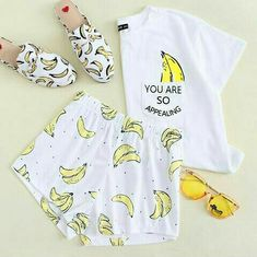Banana Print Pocket Front Top With Shorts Pajama Set - Pajama Sets - Ideas of Pajama Sets Pajama Outfits, Lazy Outfits, Pajama Shorts, Teen Fashion Outfits, Cool Outfits, Ootd Fashion, Gothic Fashion, Girl Fashion, Cute Pajama Sets