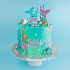 My next Mermaid cake this one was for Lolas special Mermaid birthday party - Kuchen Little Mermaid Cakes, Mermaid Birthday Cakes, Birthday Cake Girls, Little Girl Cakes, Birthday Cakes For Adults, Birthday Cake Disney, Birthday Party Food For Kids, Cakes For Kids, Mermaid Party Food