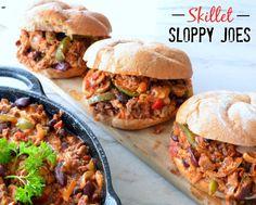 Healthy Skillet Sloppy Joes - Made with red kidney beans, green peppers & mushrooms - Served on a multigrain kaiser - Three Little Seedlings Quick Easy Healthy Meals, Healthy Eating Tips, Skillet Meals, Stuffed Green Peppers, Salmon Burgers, Ethnic Recipes, Multigrain, Community, Kidney Beans