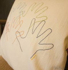 My Handful – Embroidered Hand Print Pillow