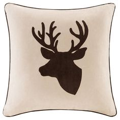 Holiday Deer Suede Pillow - Tan. Image 1 of 1.