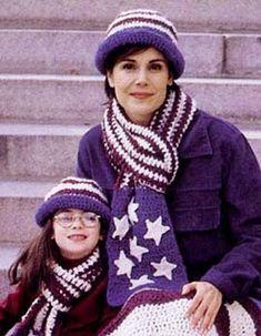 e6cbdf5d Americana Hat & Scarf in Lion Brand Wool-Ease Filet Crochet, Crochet Shawl,