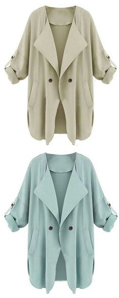 Trench coat for spring ! Casual work outfit for women .Pocket apricot coat at Romwe .Also light blue color for you to choose. Mode Style, Style Me, Look Fashion, Fashion Outfits, Work Casual, Mantel, Passion For Fashion, Autumn Winter Fashion, Plus Size Fashion