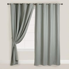 One of my favorite discoveries at WorldMarket.com: Slate Gray Parker Grommet Top Curtain