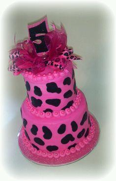 Pink & Black Leopard cake