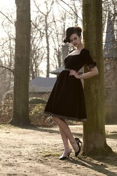 Red Juliet Couture - 50s Grace swing dress black pin dot